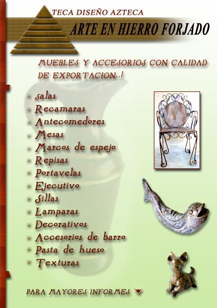 Teca muebles azteca arte en hierro forjado muebles for Muebles de fierro forjado